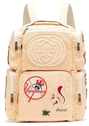 Gucci Patch Embellished Leather Trimmed Canvas Backpack - Mens - Light Yellow