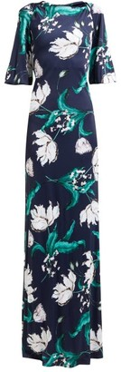 Erdem Ethelene Leighton Floral Print Jersey Dress - Womens - Navy Print