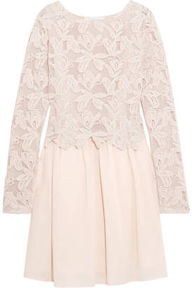 See by Chloé - Guipure Lace And Cotton Mini Dress - Pastel pink $595 thestylecure.com
