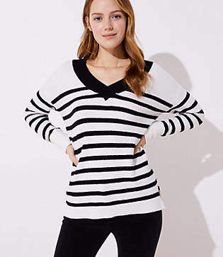 LOFT Striped Drop Shoulder V-Neck Sweater