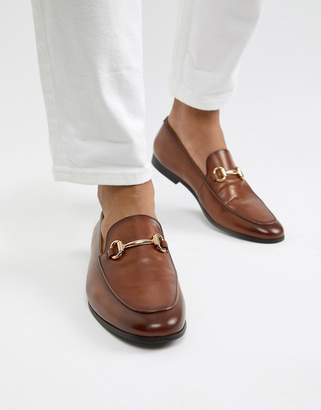 Office Italic bar loafers in tan leather