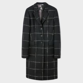 Women's Black Windowpane Check Wool-Cashmere Epsom Coat $925 thestylecure.com