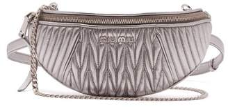 Miu Miu - Matelassé Quilted Leather Belt Bag - Womens - Silver
