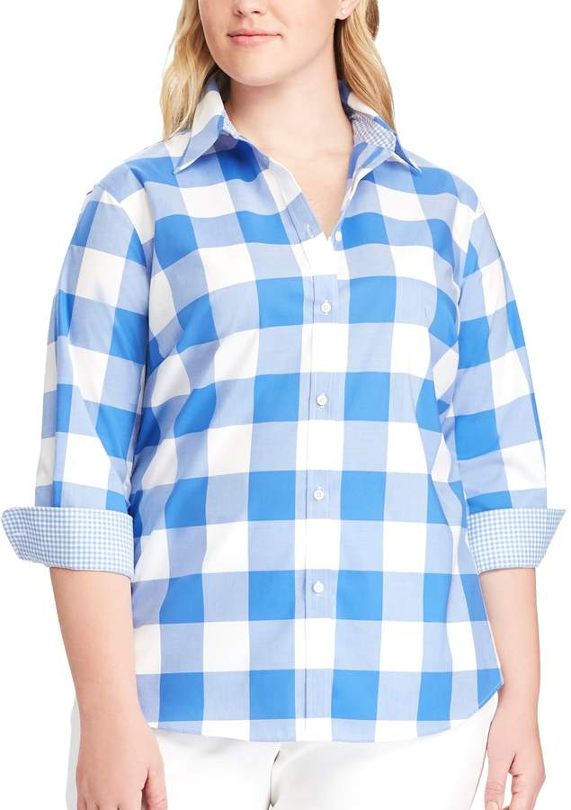 Plus Size Striped No-Iron Broadcloth Shirt