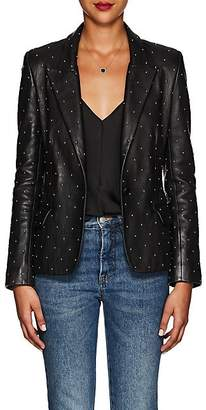 L'Agence Women's Montego Studded Leather Blazer Jacket - Black