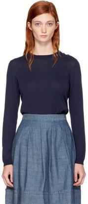 A.P.C. Navy Aura Crewneck Sweater $230 thestylecure.com