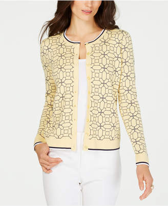Charter Club Tipped Geo-Patterned Cardigan Sweater