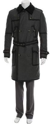 Dolce & Gabbana Astrakhan-Trimmed Grosgrain-Trimmed Virgin Wool & Cashmere Coat