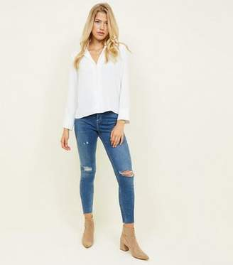 1a486a876c6b4 New Look Tall Blue High Rise Ripped Dahlia Skinny Jeans