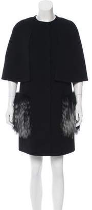Fendi Fox-Trimmed Cashmere Coat