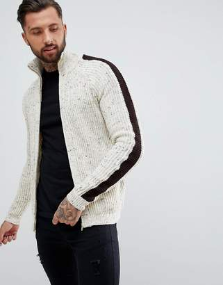 Asos DESIGN Textured Funnel Neck Jacket In Oatmeal