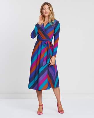 Warehouse Rainbow Stripe Midi Wrap Dress