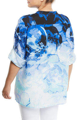Iconic American Designer Tropical-Floral Roll-Sleeve Blouse, Plus Size