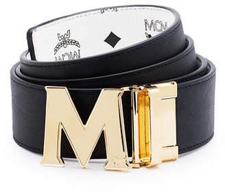 MCM Reversible Visetos Saffiano Leather Belt $295 thestylecure.com