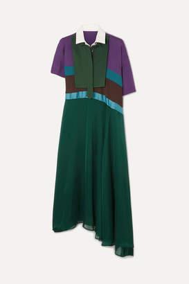Sacai Oversized Asymmetric Color-block Cotton Midi Dress - Purple