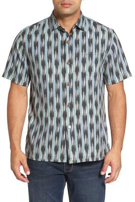 Tommy Bahama Ikat on a Hot Tin Roof Standard Fit Silk Blend Camp Shirt