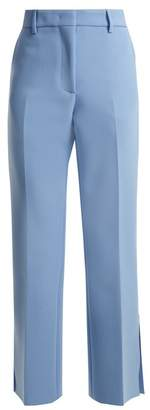 MSGM Mid Rise Flared Crepe Trousers - Womens - Blue