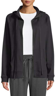 Eileen Fisher Hooded Cotton-Interlock Zip-Front Jacket