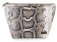 Stephanie Johnson Women's Large laura Java Coffee Python Trapezoid Cosmetic Pouch