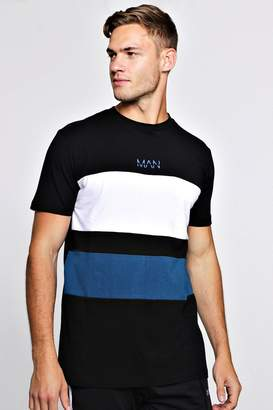 boohoo MAN Colour Block T-Shirt With Curve Hem