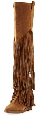 Ash Gipsy Fringe Suede Over-The-Knee Boot, Russet $525 thestylecure.com