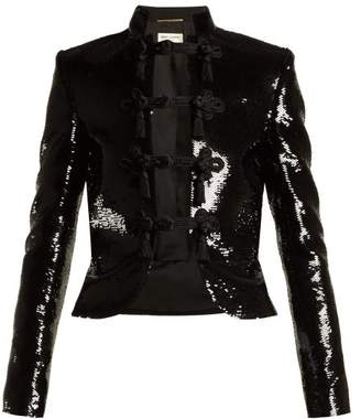 Saint Laurent Frog Fastening Sequined Military Jacket - Womens - Black