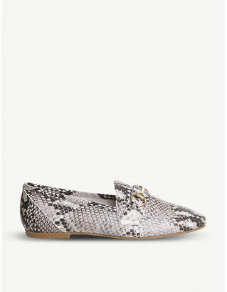 Office Destiny snake-effect leather loafers