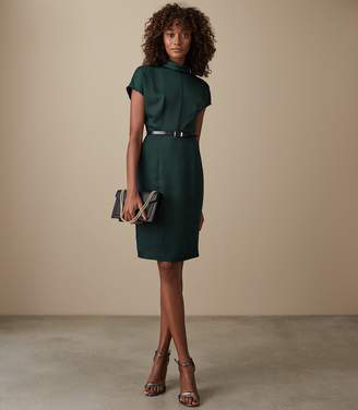 Reiss Our last order date for Christmas has now passed REX SATIN FITTED DRESS Dark Teal