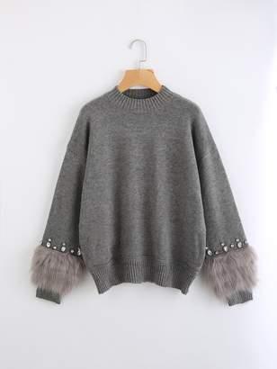 Shein Rhinestone And Faux Fur Embellished Cuff Jumper