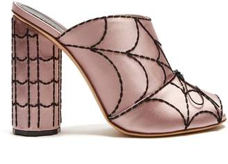 Spider's web-embroidered satin mules