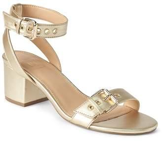 Gap Buckle Block Heel Sandals in Metallic