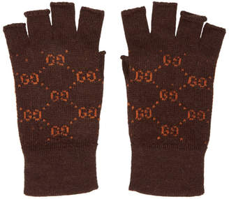 Gucci Brown and Orange GG Supreme Fingerless Gloves