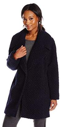 Calvin Klein Women's Single Breasted Boucle Wool Coat, Blue Black, 6