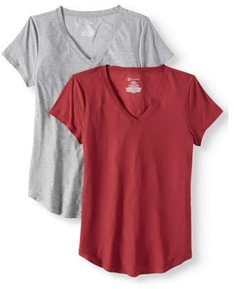 No Boundaries Juniors' Brushed Short Sleeve V-Neck T-Shirt 2-Pack