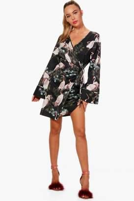 boohoo Oriental Kimono Midi Shift Dress