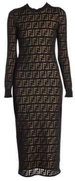 Fendi Women's FF Logo Sheer Knit Long Sleeve Dress - Acai Navy - Size 40 (6)