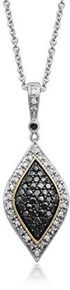 Black Diamond Jewelili Sterling Silver White and Pendant