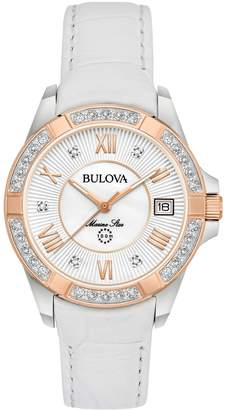 Bulova Women's Marine Star Diamond Accented Analog Quartz Watch, 32mm - 0.11 ctw