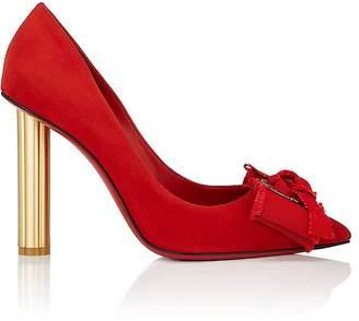 Salvatore Ferragamo Women's Flower-Heel Suede Pumps