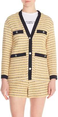 Maje Visidore Contrast Detail Tweed Cardigan
