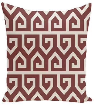 E By Design 16 Inch Rust Decorative Geometric Throw Pillow