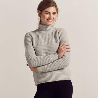 Apricot Grey Self Knit Roll Neck Jumper