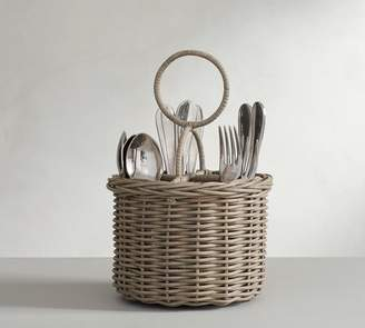 Pottery Barn Willow Woven Flatware Caddy - Gray