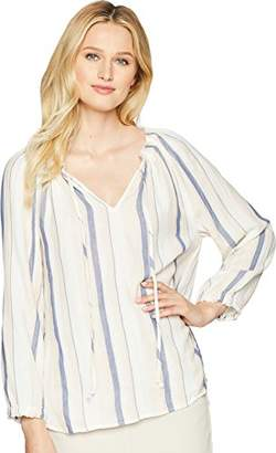 True Grit Dylan by Women's Colony Stripe Double Cloth V-Neck Long Sleeve Claire Blouse