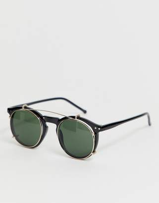 rounded sunglasses with brow bar