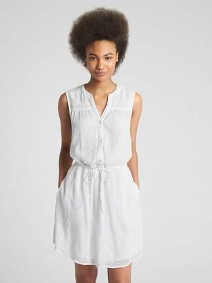 Gap Sleeveless Eyelet Crinkle Shirtdress
