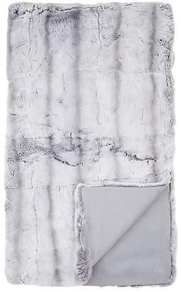 Adrienne Landau Chinchilla-Striped Rabbit Fur Throw