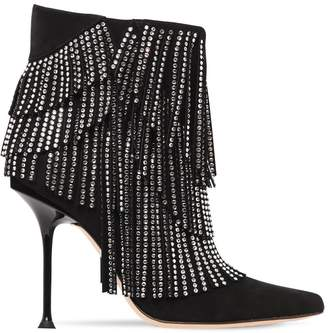 Sergio Rossi 105MM EMBELLISHED SUEDE ANKLE BOOTS