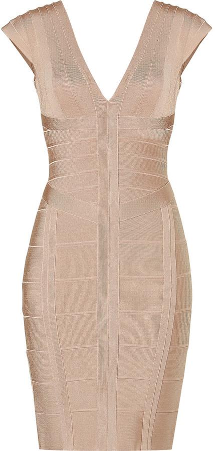 Herve Leger Adobe V-Neck Bandage Dress