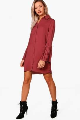 boohoo Utility Pleated Sleeve Shirt Dress